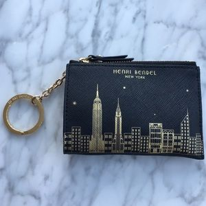 Henri Bendel black & gold coin purse with key ring